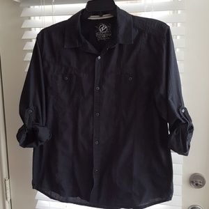 Charcoal grey button up shirt